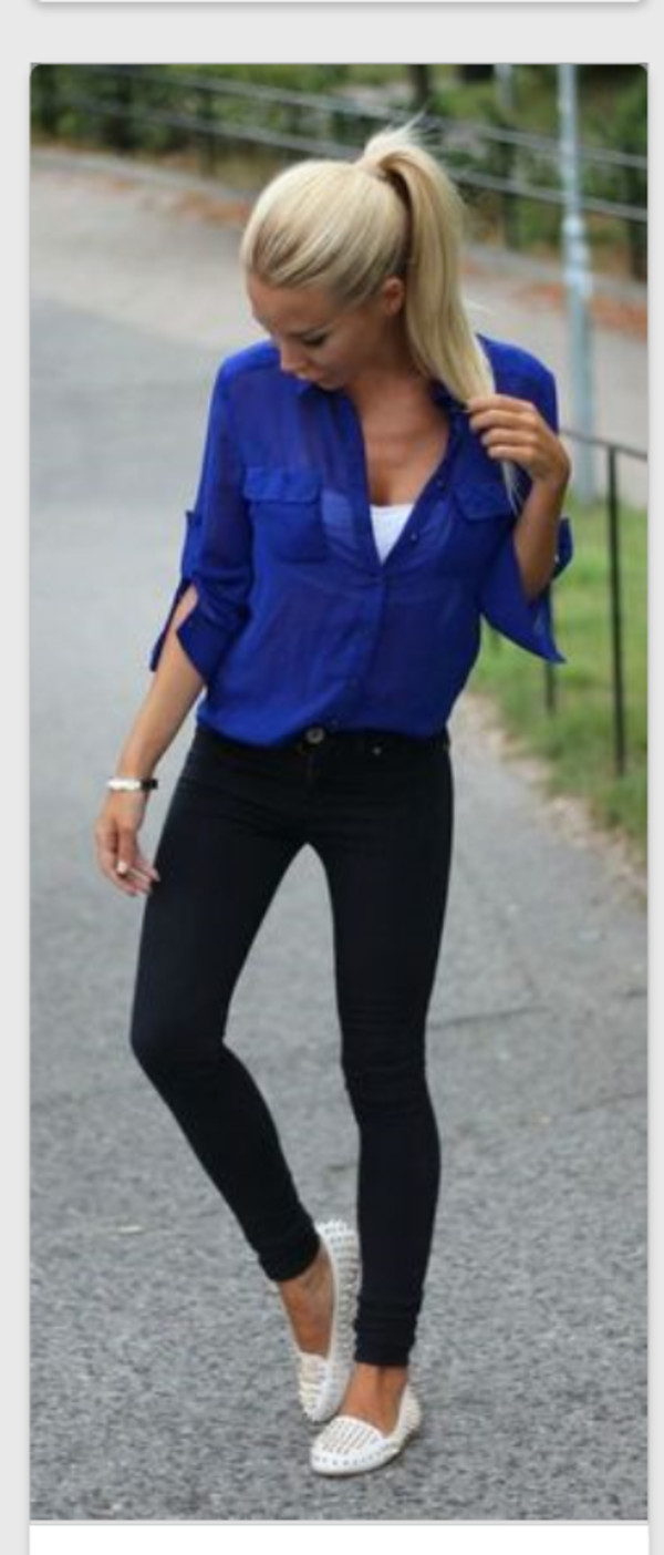 shirt blue shirt blouse dark royal blue sheer buttons jeans casual top fashion style socks royal blue sheer blouse neon neon blue top blue top shoes sheared blouse sleaves blue black jeans fall outfits
