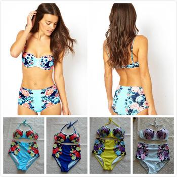 Aliexpress.com : buy plus size xl xxxl vintage print high waist swimsuit triangle bikinis set push up bikini retro floral swimwear biquini brazilian from reliable bikini beachwear suppliers on igoodbuy