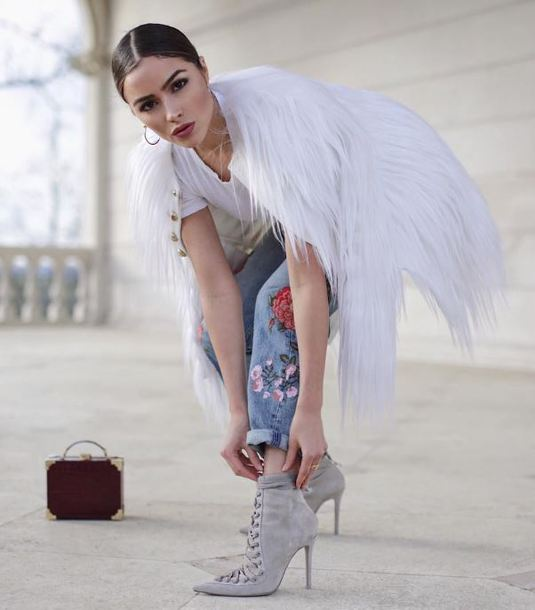 jeans olivia culpo ankle boots denim fur jacket top instagram shoes