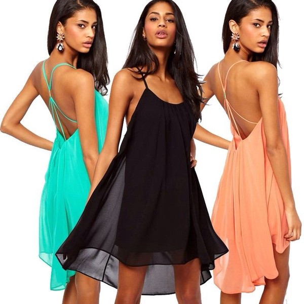 dress black peach pink chiffon green teal summer trendy short mini 2014 chic spring