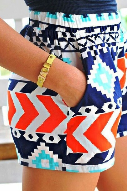 shorts colorful shorts elastic waist printed shorts aztec aztec shorts aztec blue orange orange and blue chevron waistband navy turquoise