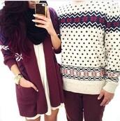 cardigan,white dress,couple matching sweaters,scarf,watch,burgundy,dress,sweater,menswear,mens sweater