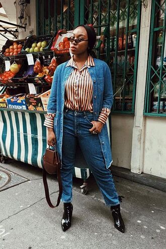 shirt denim duster striped shirt denim jeans high waisted duster coat black shoes shoes bag brown bag sunglasses