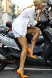 shoes,orange heels,pointy,shorts,all white everything,all white outfit,white shorts,blazer,white blazer,pumps,orange pumps,pointed toe pumps,sunglasses,prada,white sunglasses