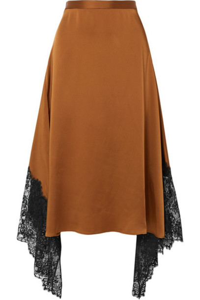 Christopher Kane - Asymmetric Lace-paneled Satin Midi Skirt - Brown