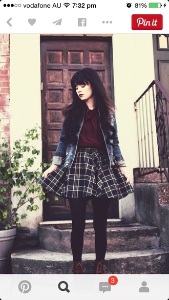 skirt grunge mini mini skirt scatter skirt tarton checker flannel paytern