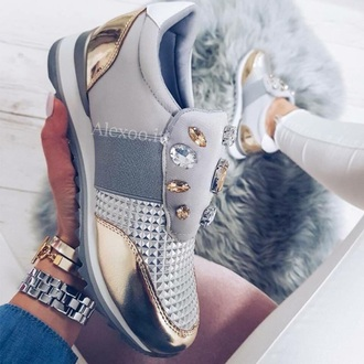 shoes gold bling grey pretty white decorated stones stones running shoes running tennis shoes tennis cool