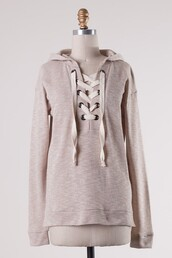 top,oatmeal,french terry,hoodie,sweatshirt,lace up