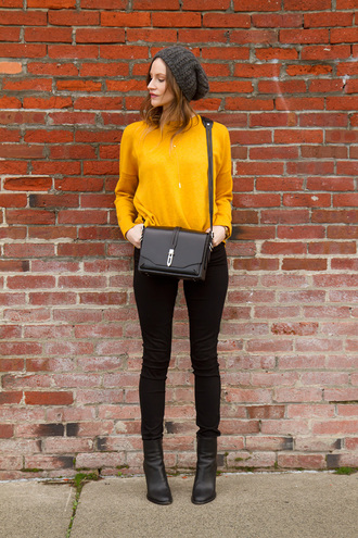styling my life blogger mustard black bag black jeans black boots knitted beanie