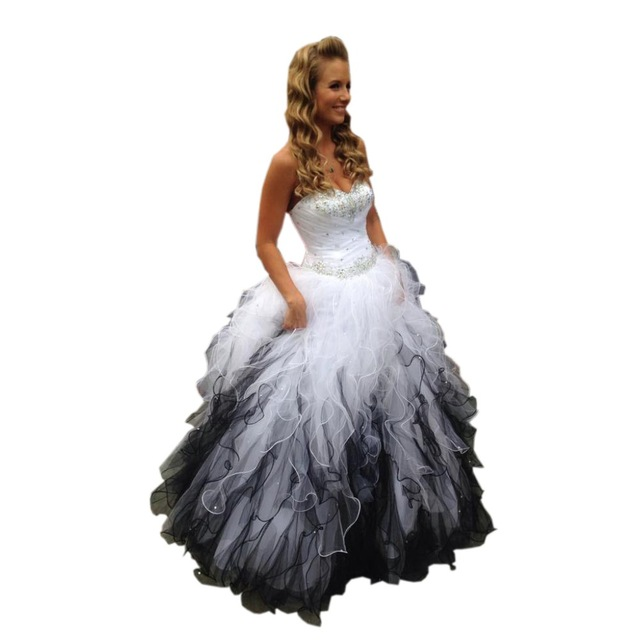 64e38c0126d Aliexpress.com   Buy Gradient Ombre Sweet 16 Dresses Sweetheart Neck Quinceanera  Dresses White and Black Tiered ...