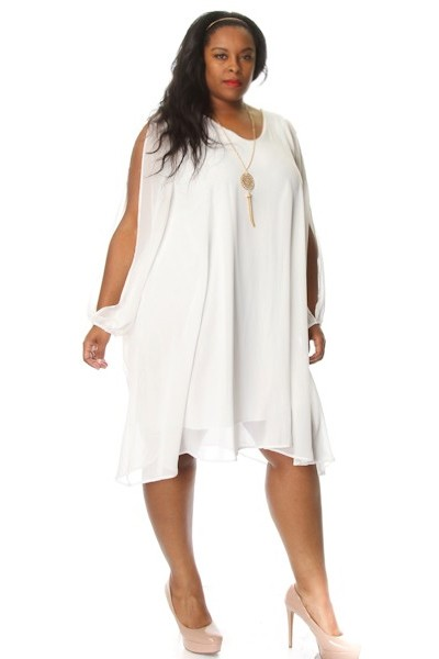 2d1c0220a4 Plus Size Slit Sleeve Chiffon Shift Dress w  Necklace
