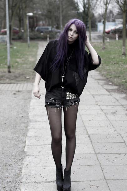 Shorts Studs Stud Dark Purple Black Blacks Ripped Ripped Shorts Jeans Grey Purple ...