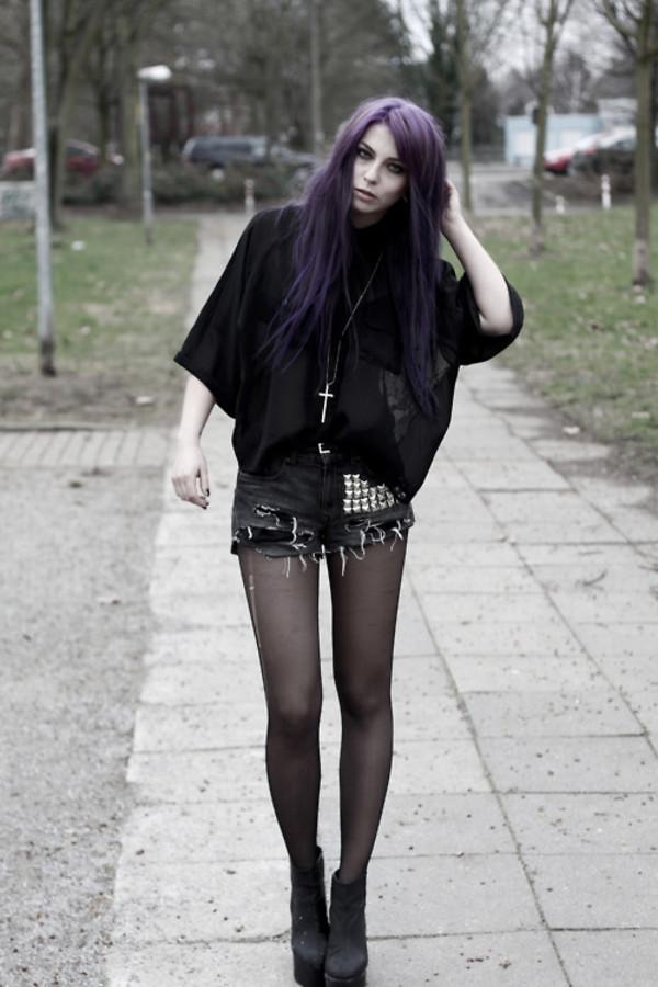 Shorts Studs Stud Dark Purple Black Blacks Ripped