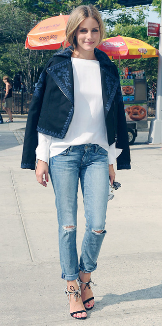 jacket jeans sandals olivia palermo marchesa