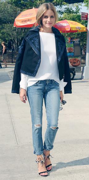 olivia palermo jacket jeans sandals