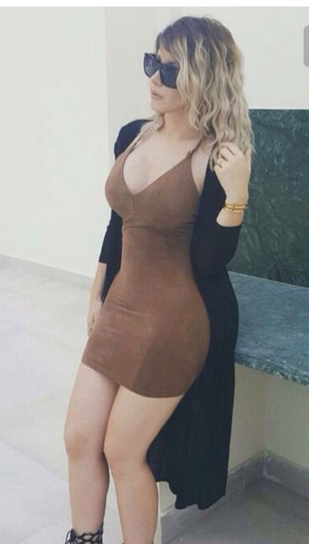 dress brown dress bodycon dress