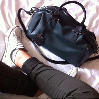 leather shoes bag black jeans white denim converse zara black bag leather bag white shoes all star converse