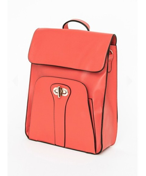 bag handbag purse coral orange prep bookbag
