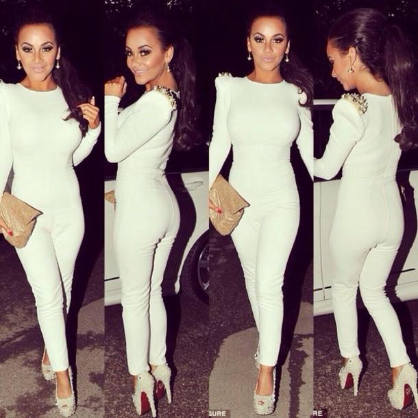 dress jumpsuit white bag