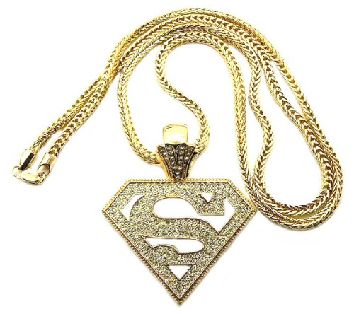 Diamond cz iced out gold superman pendant 36 chain necklace hip diamond cz iced out gold superman pendant 36 chain necklace hip hop jewelry kings mozeypictures Gallery