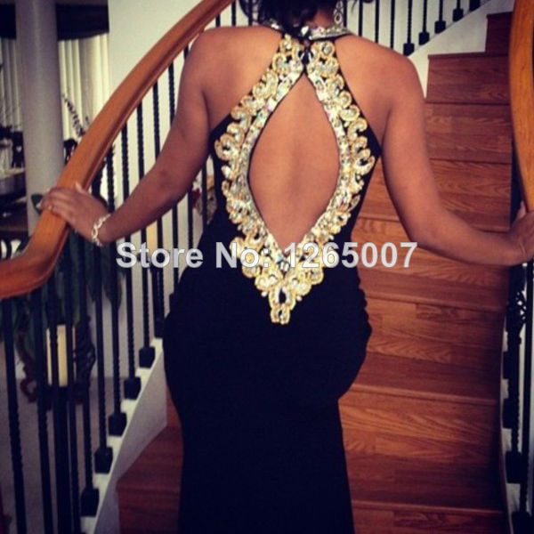 Aliexpress.com : Buy Glassy Halter Sweetheart Diamond Golden Sequins Open Back Chiffon Slit Backless Bling Black Summer Prom Dress Long Fashion from Reliable diamond pave wedding band suppliers on SFBridal