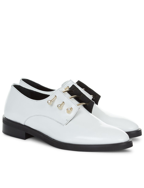 White Leather Adele Derby Shoes
