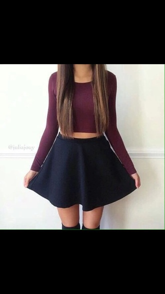 skirt black shirt crop tops