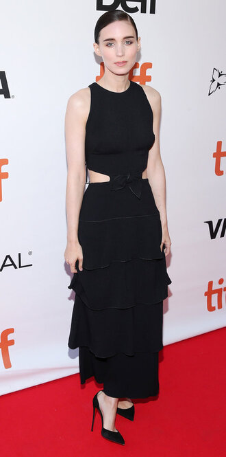 dress black dress rooney mara pumps midi dress cut-out dress