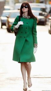 coat,green,fur,anne hathaway,shoes