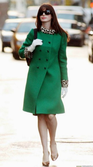 anne hathaway coat green fur shoes