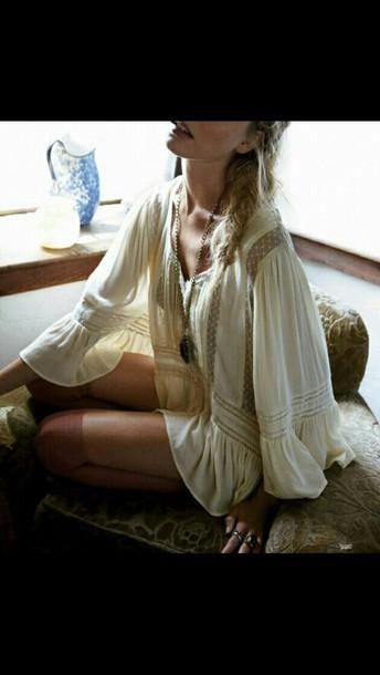 dress cream dress boho dress bohemian dress