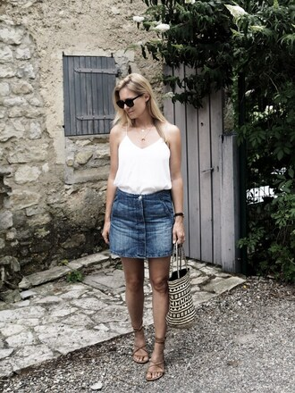 style and minimalism blogger top skirt shoes jewels bag sunglasses dress belt tank top scarf white top denim skirt mini skirt flats lace up flats