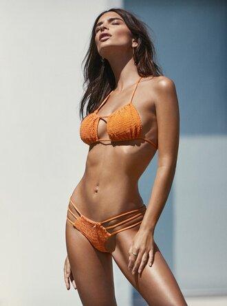 swimwear bikini bikini top bikini bottoms emily ratajkowski orange model summer