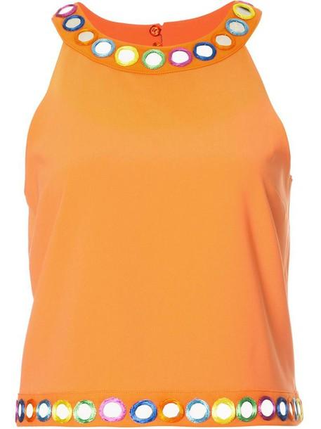 top sleeveless top sleeveless women embellished yellow orange