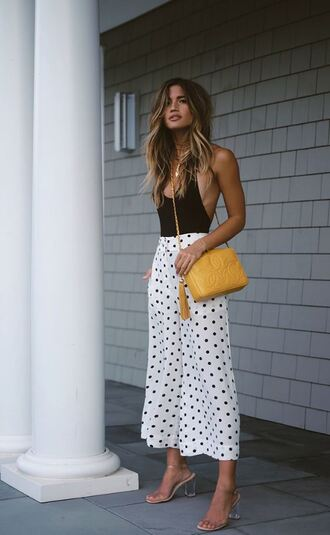 pants polka dots black and white sandals top bodysuit rocky barnes blogger summer outfits shoes