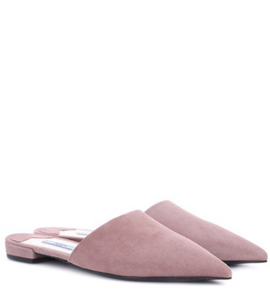 Prada slippers suede pink shoes