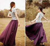 skirt,maxi skirt,purple