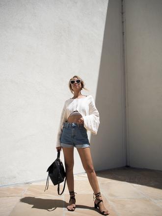 shorts tumblr denim denim shorts top crop tops cropped sweater bag backpack sandals black sandals shoes sunglasses