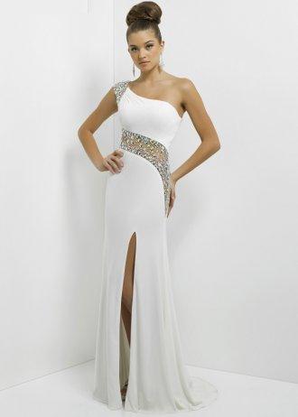 One shoulder long white beaded sheer slit blush 9780 prom dress [long white beaded prom dress]