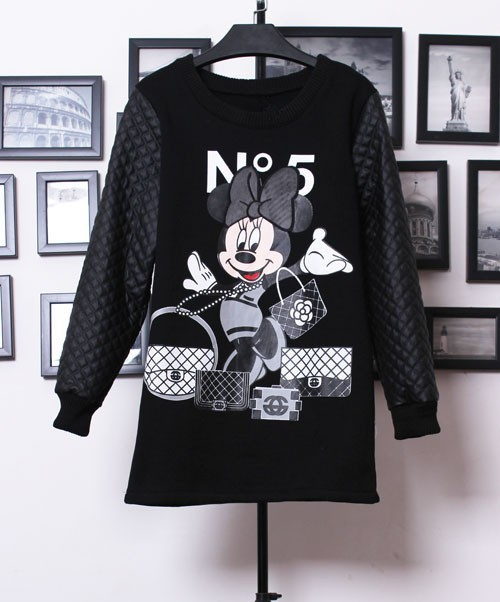 2013 Fall New Style Hot Fashion Women Casual Black Contrast PU Leather Mickey Print Mini Dress-in Hoodies & Sweatshirts from Apparel & Accessories on Aliexpress.com