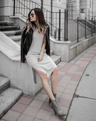 dress tumblr midi dress slit dress jacket leather jacket black leather jacket boots grey boots