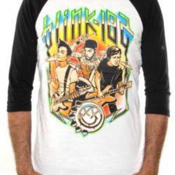 ROCKWORLDEAST - Blink 182, Baseball Jersey Shirt, Cartoon