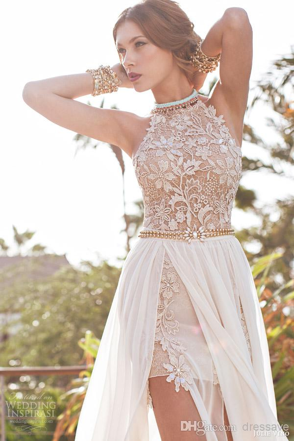 Cheap Evening Dresses - Discount Lace Chiffon Beach Prom Dresses Halter Beaded Crystals Online with $119.79/Piece | DHgate