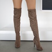 shoes,over the knee,over the knee boots,thigh high boots,thigh highs,suede,boots,otk,taupe,tan,love,winter outfits,gojane