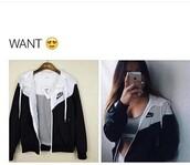 jacket,nike,black and white,windbreaker