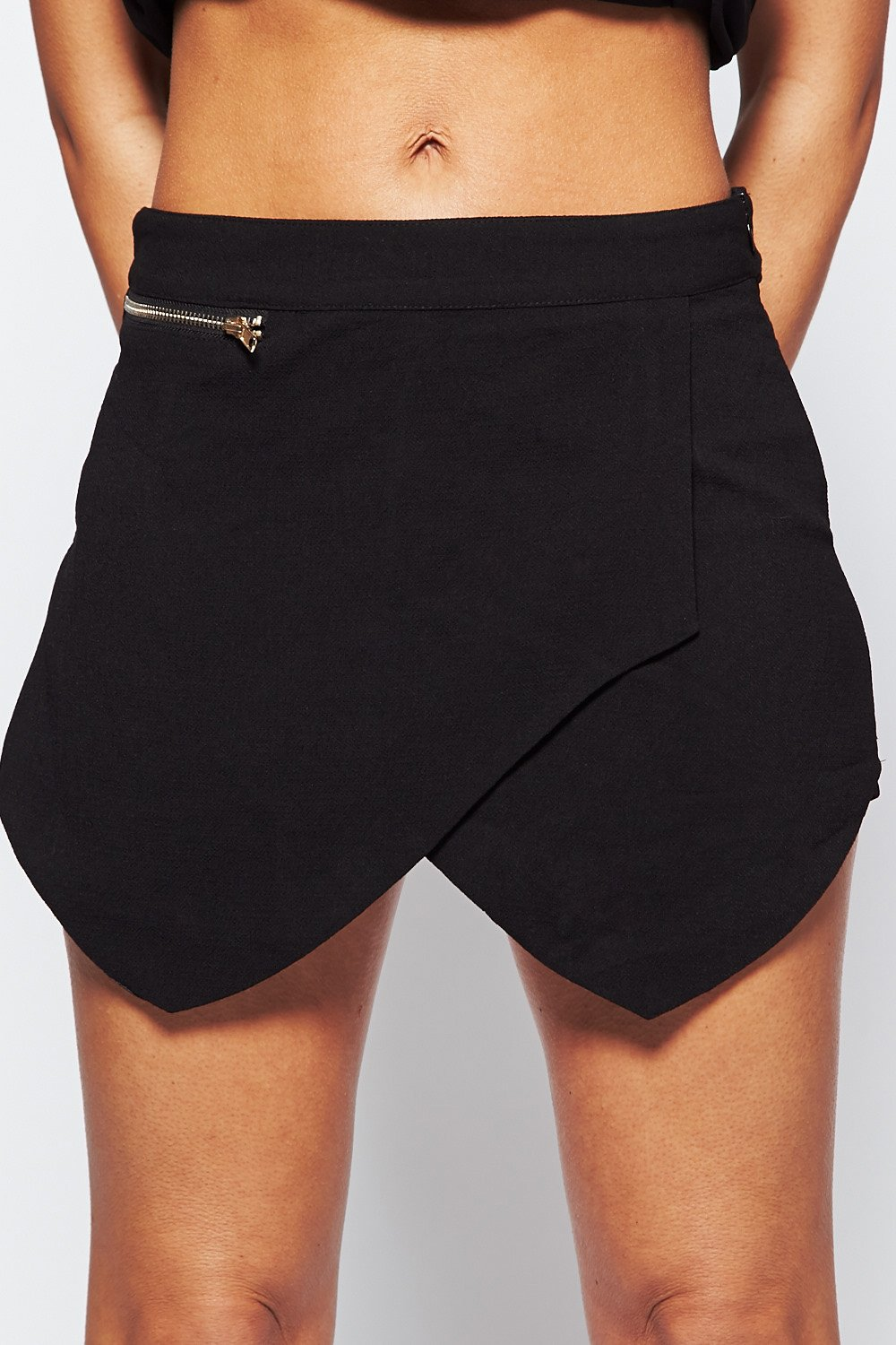 Black skorts skirt shorts with zip