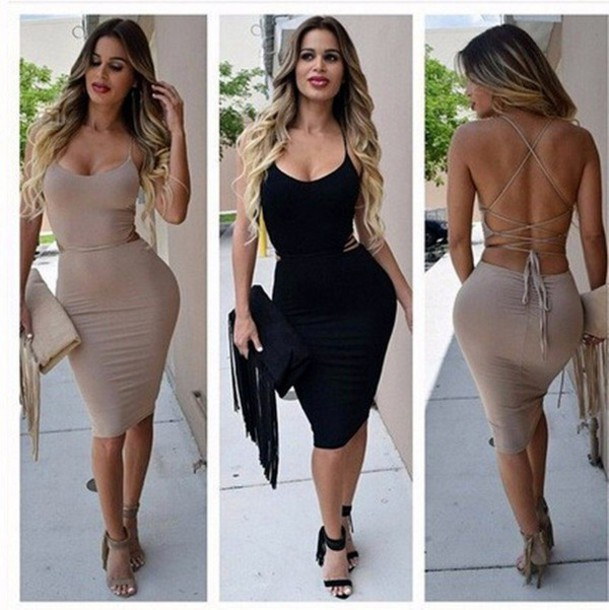 Dress: lace up, lace up dress, strappy, strappy dress, bodycon ...