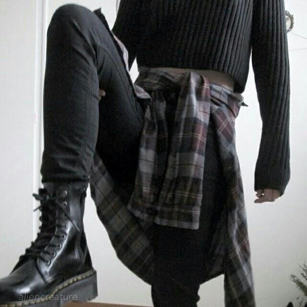 sweater tumblr grunge grunge wishlist all black everything DrMartens flannel