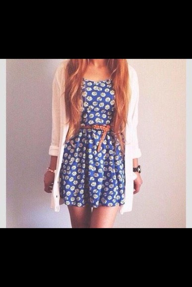white cardigan blue dress floral dress white flowers cardigan dress long cute outfit