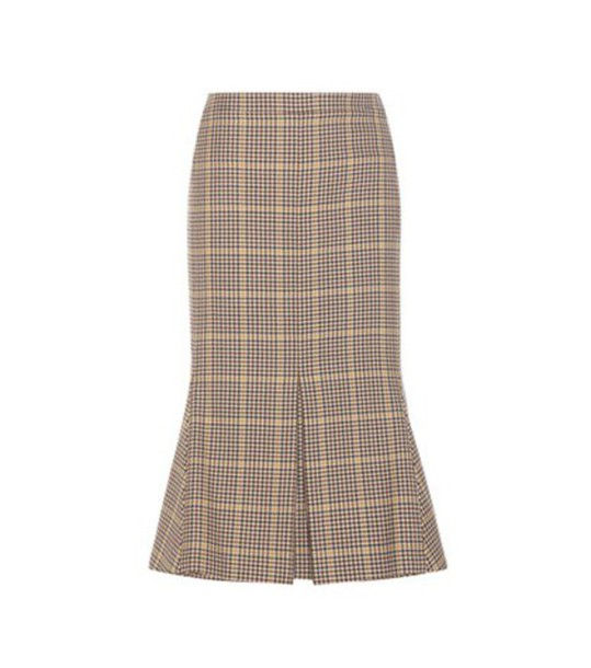 Balenciaga Houndstooth Virgin Wool Skirt in brown
